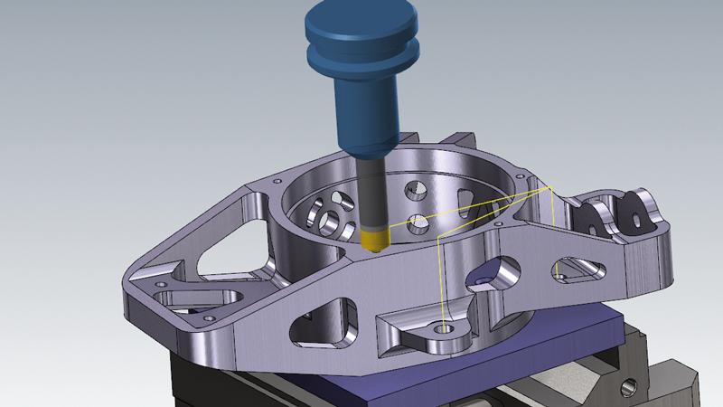 """Der neue Werkzeugweg """"Fasen"""" sorgt in Mastercam 2021 für eine enorme Erleichterung beim Fasen von Bohrungen. Basierend auf eingetragenen Parametern wie Breite und Tiefe errechnet unsere CAD/CAM-Software selbstständig die entsprechenden Tiefen auch bei verschiedensten Bohrungsdurchmessern, sowie bei Bohrungen, die auf unterschiedlichen Ebenen liegen. Das Besondere: Die Bohrungen können in nur einer Operation und mit einem Werkzeug gefertigt werden! Somit sparen Sie bei der Programmierung deutlich an Zeit."""