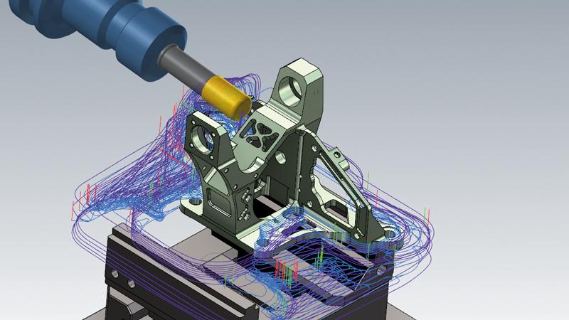 """Der neue Werkzeugweg """"3+2 automatisches Schruppen"""" in Mastercam 2021 erstellt 3-Achsen-Werkzeugwege zum Schruppen in verschiedensten Ebenen. Die Analyse dieser Ebenen erfolgt entweder komplett automatisiert, halb automatisiert oder manuell. Dies bietet verschiedenste Optionen um effektive Werkzeugwege auf unterschiedlichen Ebenen erzeugen zu können.  Unsere CAD/CAM-Software analysiert hierbei Modell und Rohteil und erzeugt darauf basierend einen Schruppwerkzeugweg. Anhand des verbleibenden Materials berechnet Mastercam im Anschluss einen neuen Werkzeugweg. Dieser Vorgang wird so lange wiederholt, bis die gewünschte Materialmenge übrigbleibt.  Eine Auswahl an zusätzlichen Parametern gibt Ihnen die Möglichkeit diesen Werkzeugweg speziell auf Ihre Bedürfnisse anzupassen"""