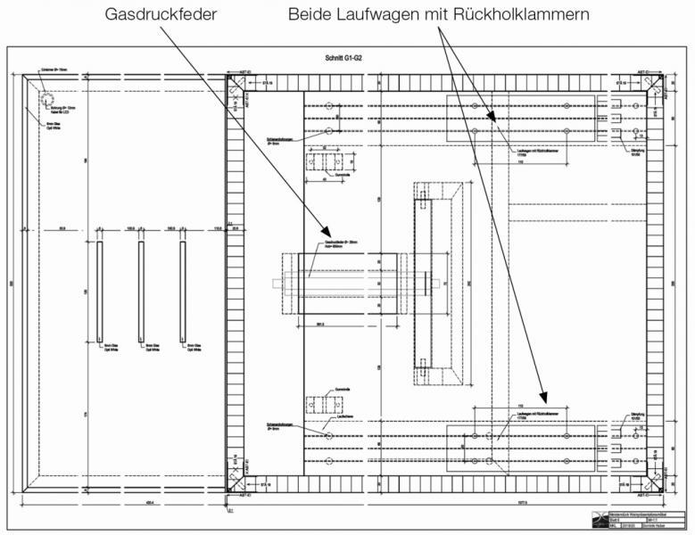 Das Meisterstück Slide Bar von Dominik Huber zeichnet sich schon im Entwurfstadium durch modernes Design sowie durch die Funktion des Auf- und Zuschiebens mit Hilfe der hier in der Mitte zu sehenden Gasdruckfeder aus