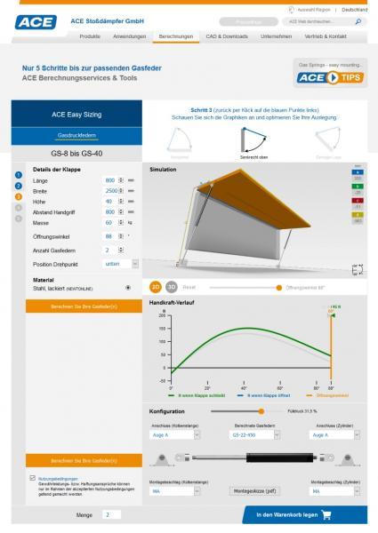 Unter www.ace-ace.de lassen sich Industriegasfedern in kürzester Zeit berechnen, auslegen und bestellen