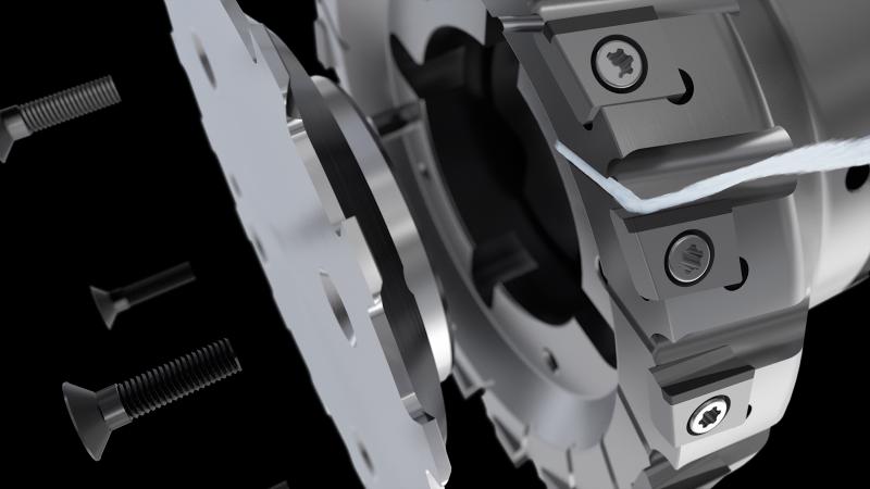 Die Schneidengeometrie, Schneidenanstellung und Kühlmittelstrahl des MaxiMill SEC12 erzeugen einen Sogeffekt für nahezu spanfreie Bauteile.