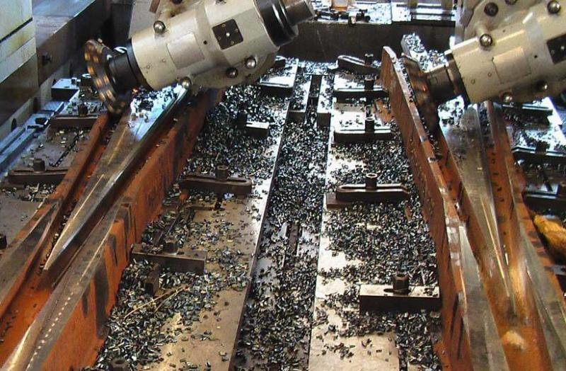 Railway switches during the production process.