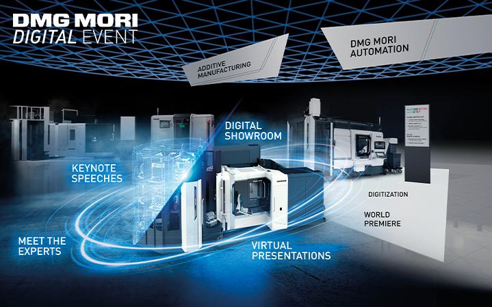 Vom 6. bis zum 9. Oktober 2020 präsentiert DMG MORI seine Trends und Innovationen sowie innovative Produkte und Lösungen digital – mit virtuellen Live-Vorträgen und einem digitalen Showroom der Extraklasse.