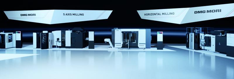 Insgesamt 17 Hightech-Maschinen und Automationslösung lassen sich im virtuellen Showroom detailliert unter die Lupe nehmen – allen voran die Weltpremiere DMF 200|8 und der Robo2Go Milling als Innovation im Automationsbereich.