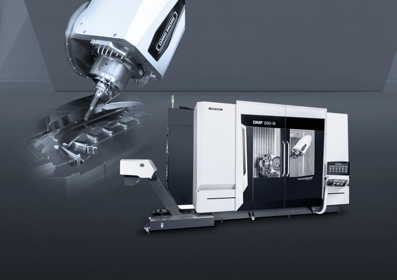 World premiere 2020: In the 5-axis machining of long workpieces, the DMF 200|8 continues its success story among travelling column machines.