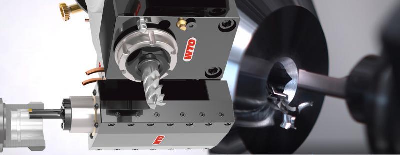 Angetriebene Stoßeinheit für CNC Drehzentren zur rationellen Herstellung von Nuten und Verzahnungen