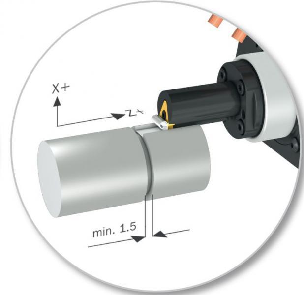 - X90CrMoV18, 925 N/mm2 Zugfestigkeit - Bohrung Ø 55 mm, 26 Nuten, Modul 2, Eingriffswinkel der Zähne 30°, Ra 1,6 - Nutmaße: Länge 10 mm, Breite 1,5 mm, Tiefe 2,5 mm Konventionelle Fertigung in 4 Prozessschritten: 1. Drehzentrum, 2. externes Ziehen der Verzahnung mit Dorn, 3. Stoßen mit Bearbeitungszentrum, 4. Nach-/Endbearbeitung im Drehzentrum Stoßeinheit von WTO mit Komplettbearbeitung auf Drehzentrum: Bei 750 Hüben pro Minute und Zustellung 0,04 mm beträgt die Bearbeitungszeit 5 Sekunden pro Nut - nur ein Prozessschritt auf einer Maschine - kleine Losgrößen möglich - Schaffung freier Kapazitäten auf dem BAZ