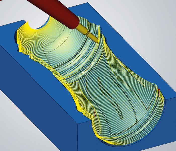 Eine neue radiale Projektionsmethode sorgt für eine schnelle Berechnung der Werkzeugbahnen. Mit der neuen 5-Achs-Radialbearbeitung lassen sich Flaschenformen einfach programmieren.