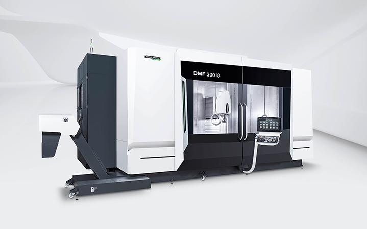 Weltpremiere DMF 300|8: Ein 3.000 mm langer Tisch bietet Anwendern maximale Flexibilität in der Bearbeitung von langen Werkstücken – über die gesamte Tischbreite oder mittels Trennscheibe in zwei separaten Arbeitsräumen.