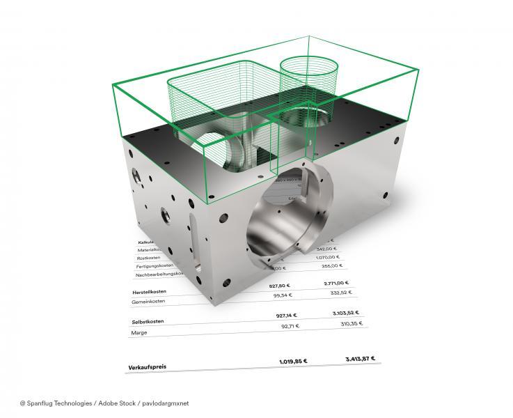Spanflug analysiert das CAD-Modell und die technische Zeichnung eines Bauteils und kalkuliert auf Basis dieser Daten in wenigen Sekunden einen Preis.