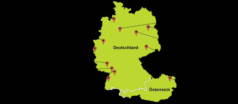 Übersicht der 22 teilnehmenden Forschungsstellen in Deutschland und Österreich unter denen auch sieben WGP-Institute vertreten sind.