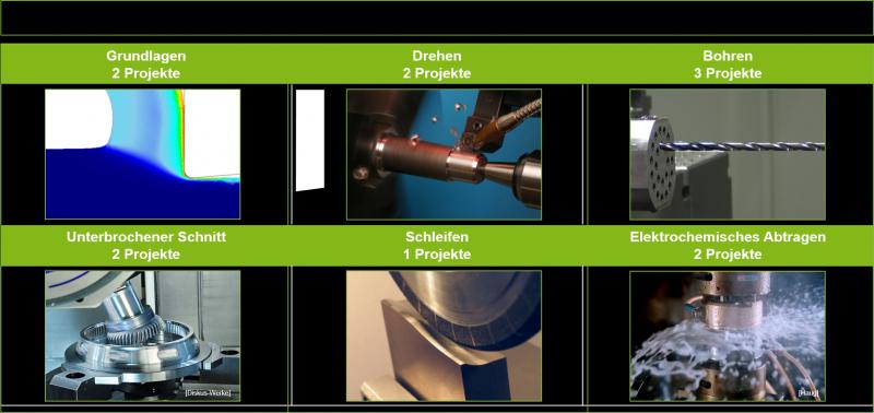 Übersicht der 12 Kooperationsprojekte sowie die Aufteilung der Themenschwerpunkte.