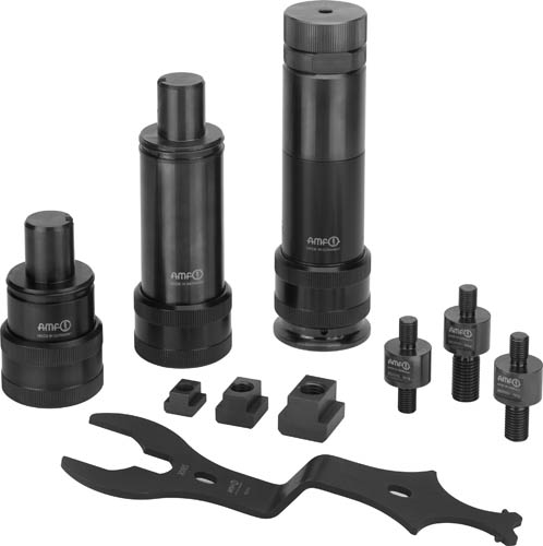 AMF presents a flexible, modular screw jack for fixing large and medium-sized components in T-slots and grid plates. The starter kit consisting of ten parts covers a wide range of applications.