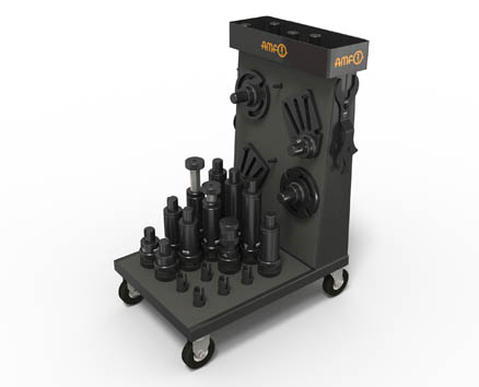 AMF offers numerous accessories for the modular screw jacks. A workshop trolley with mountings for the modules ensures order and mobile, quick provision at the place of use.