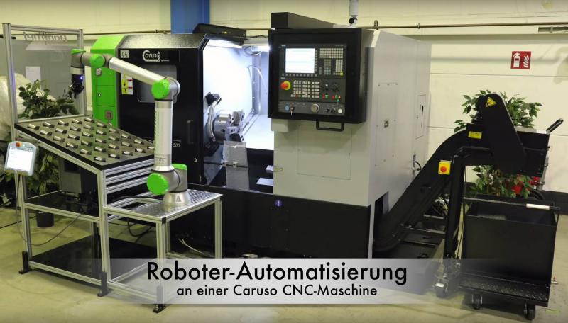 Mit unserer Beispiel-Automation geben wir Ihnen einen ersten Einblick in die Einsatzmöglichkeiten des Cobots UR10e CB5 an den Caruso CNC-Drehmaschinen.