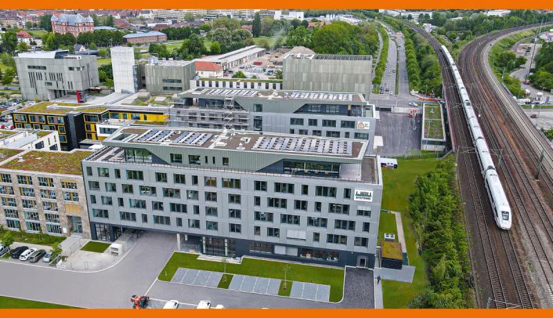 Der neue Firmensitz von Wibu-Systems – energieeffizient und zusammen mit dem benachbarten House of IT-Security ein starkes Zeichen für den IT-Standort Karlsruhe.