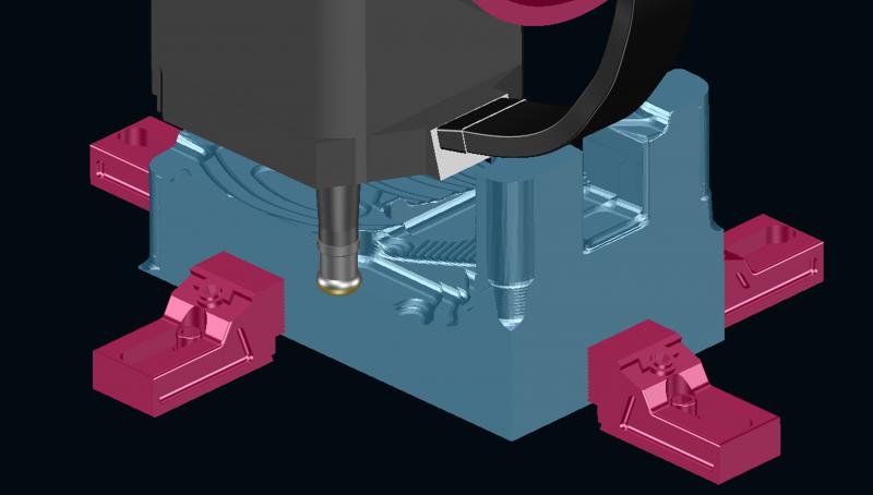 Maschinenkopf während der NC-Berechnung interaktiv um die C-Achse drehen und mehr Material abtragen.