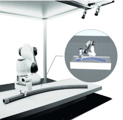 Beobachtung eines biegeschlaffen Bauteils mit einer 3D Stereokamera während der Handhabung durch einen Roboter und Berücksichtigung physikalischer Randbedingungen durch prozessparallele Simulation des Deformationsverhaltens