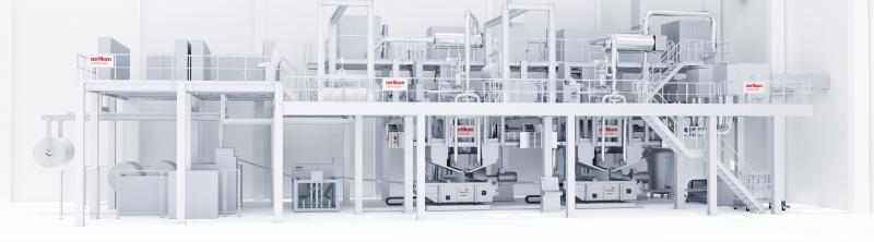 Oerlikon Nonwoven double-beam meltblown system – here with integrated ecuTEC+ for electrostatically-charging the filter media.