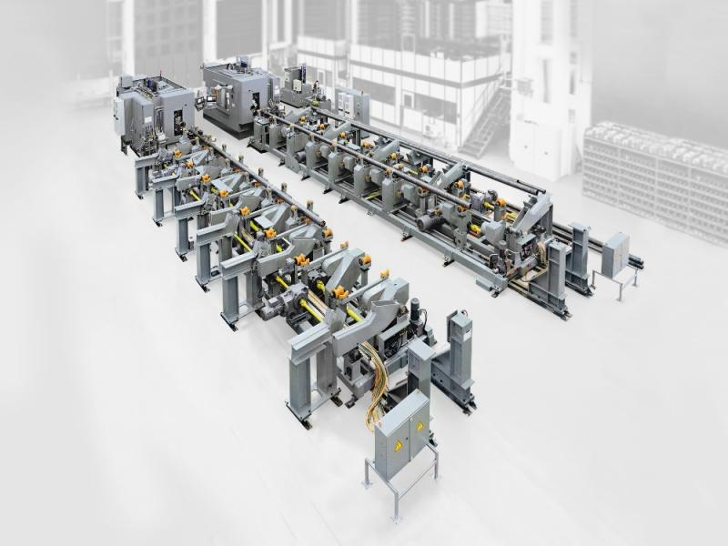 The flexible loading of the workpieces is of customer-specific design and fully automated. The transport system does not need to be reset and adjusts itself to individual tasks and workpiece dimensions.