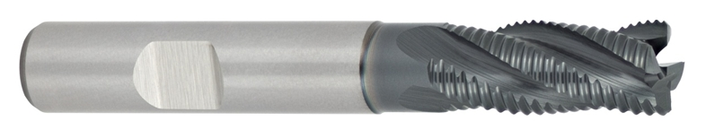 HSSE-PM roughing end mill with tapered core diameter