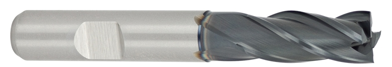 HSSE finishing end mill with variable spacing of cutting edges