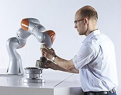 The newest member of the KUKA robot family – the LBR iiwa lightweight robot.