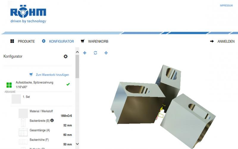 Thanks to the visual 3D support of web2product from Röhm, the configuration progress can be seen in real time.