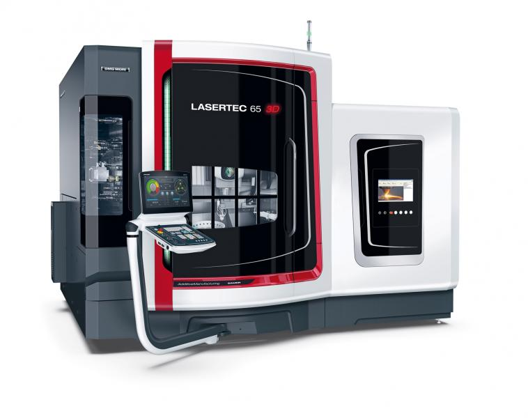 With its LASERTEC 65 3D DMG MORI presents a hybrid machine that is currently unique on the market which incorporates generative laser deposition welding in a fully-fledged 5-axis milling machine.