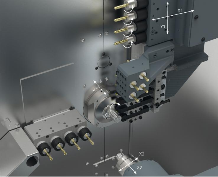 The SPRINT 32|5 is equipped with five linear axes in total as well as a C-axis for the main spindle