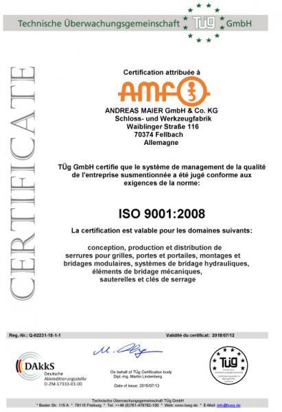 AMF hat das durchgeführte Rezertifizierungsverfahren zum sechsten Mal erfolgreich absolviert. Im Abschlussgespräch bestätigten uns die Auditoren ein gut funktionierendes Qualitätsmanagementsystem, das sich seit der letzten Rezertifizierung positiv weiterentwickelt hat.