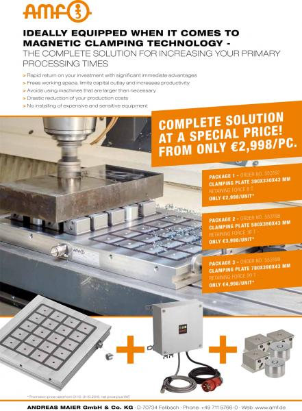 Ideally equipped when it comes to magnetic clamping technology - the complete solution for increasing your primary processing times.  COMPLETE SOLUTION AT A SPECIAL PRICE! FROM ONLY €2,998/PC.