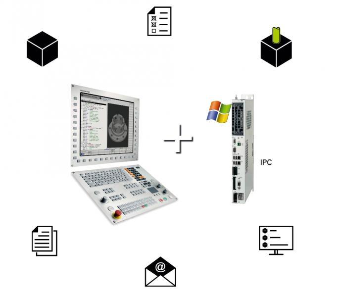 Ohne Einfluss auf die CNC-Bearbeitung und die Maschinenleistung: die Kombination der TNC 640 mit einem Industrie-PC wie dem HEIDENHAIN IPC 6641