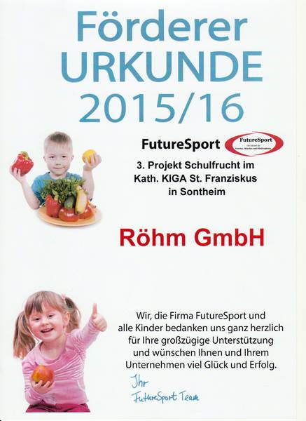 Die RÖHM GmbH ermöglicht mit dem Schulfrucht Projekt den Kindern des St. Franziskus Kindergartens Sontheim zusätzliche Portionen Obst und Gemüse.