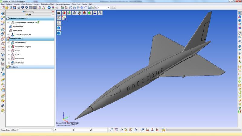 Partnerschaftlich zum Flugzeugmodell: In WorkNC von Vero Software wurden die Fräsbahnen generiert, bevor das Messemodell dann auf einer Fooke Endura 704Linear zerspant wurde.