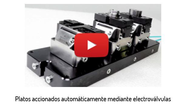 Los platos pueden funcionar al unísono o independientemente. Pueden ser accionados mediante una válvula al comienzo de la fila de platos manualmente o bien, pueden ser conectados al control de la máquina mediante una electroválvula de manera que todos los platos serían accionados automáticamente.