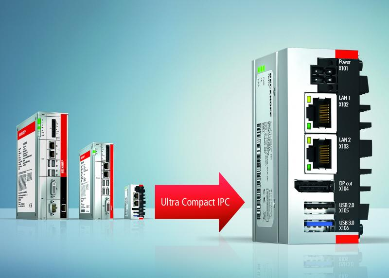 The ultra compact C6015 IPC is only one third the size of the C6905, previously the smallest Beckhoff control cabinet IPC.