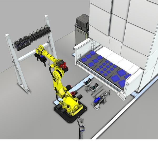 Abbildung Roboter vor Turmspeicher: Der um zwei Achsen ergänzte Roboter entnimmt die Rohteile aus einem platzsparenden Turmspeicher, der für die flexible Aufnahme von Werkstücken, Halbfertigteilen und Fertigteilen mit Tablaren ausgestattet ist.