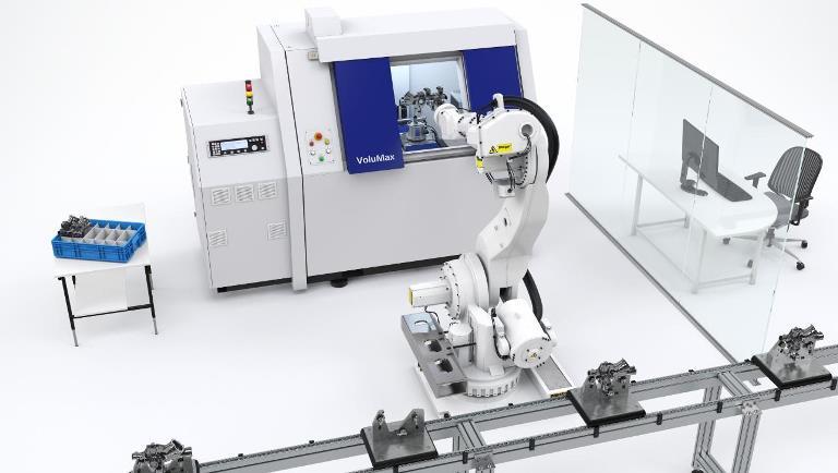 Vollautomatische 3D Werkstückprüfung: Die Inline-Computertomographie sorgt durch automatische Roboterbestückung für die optimale Einbindung in Fertigungslinien. Foto: Zeiss, Oberkochen
