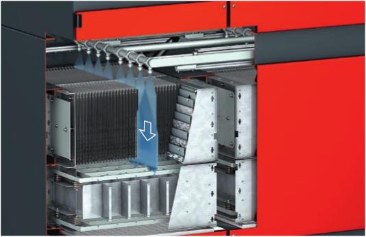 Das innovative, hoch automatisierte Spülsystem entlastet den Betreiber weitgehend von lästigen Reinigungsarbeiten.
