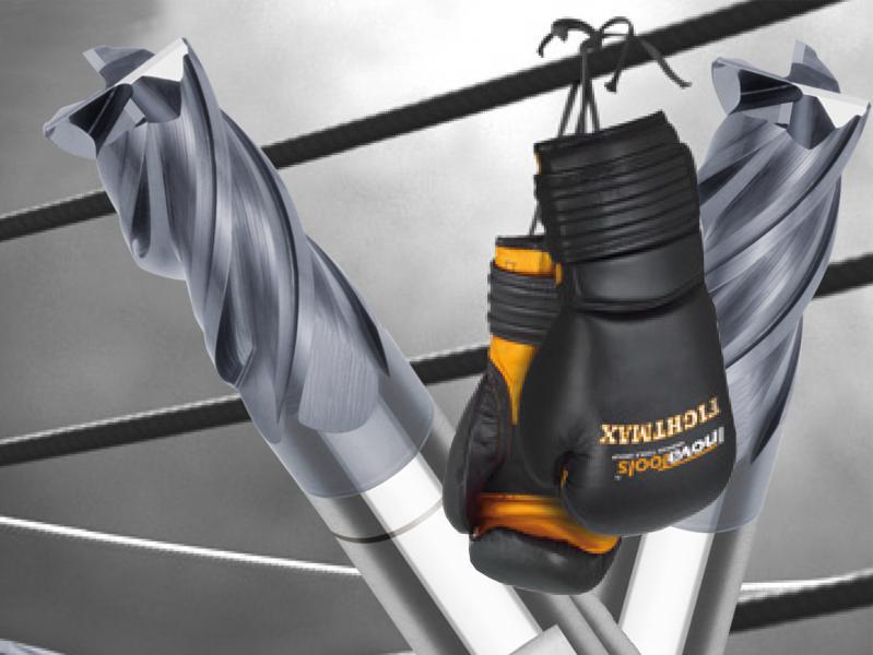 Mit dem FIGHTMAX schickt Inovatools ein Kraftpaket in die Kampfarena, das – je nach Zerspanungs¬herausforderung – bis 45° Helix-Eintauchen sowie in einem schruppen und schlichten und kann.