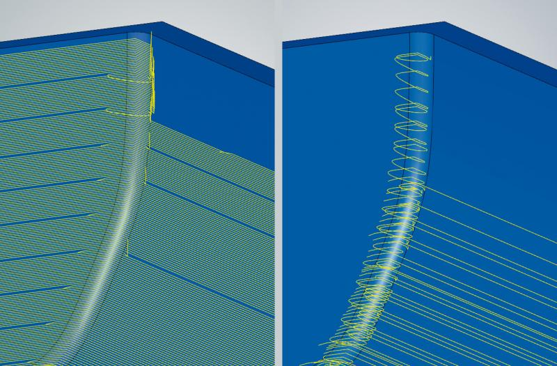 3D Optimised Roughing: The optimised infeed strategy allows faster machining in the 'rest material roughing' mode (left: without step optimization, right: with step optimisation).