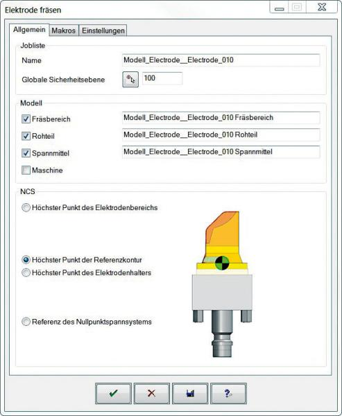 Dialog window for electrode machining in hyperMILL®