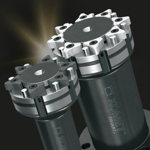 Einfach in der Handhabung: Beim neuen KOMET WSP-Reibwerkzeug Freemax können die dreischneidigen Wendeschneidplatten in beliebiger Reihenfolge auf das Werkzeug montiert werden.