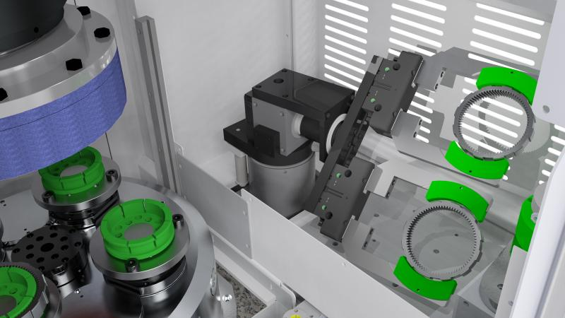 Turning of workpieces via integrated lifting swivel loader for two-sided grinding processes