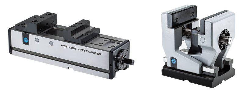 Two new highlights in the vice product range from RÖHM: the RKE-M (left) and the RZM in the new jaw width of 92.