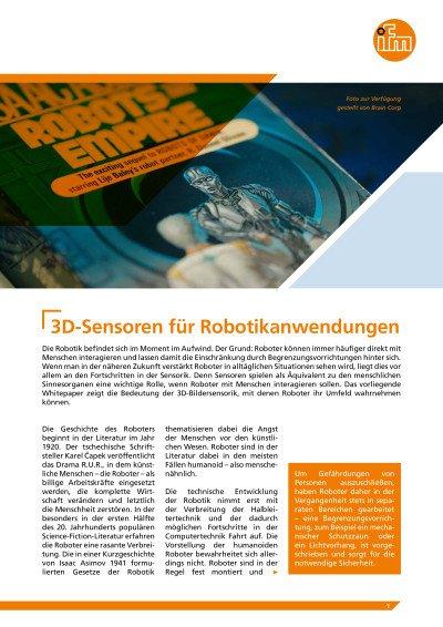 White Paper: 3D-Sensoren für Robotikanwendungen