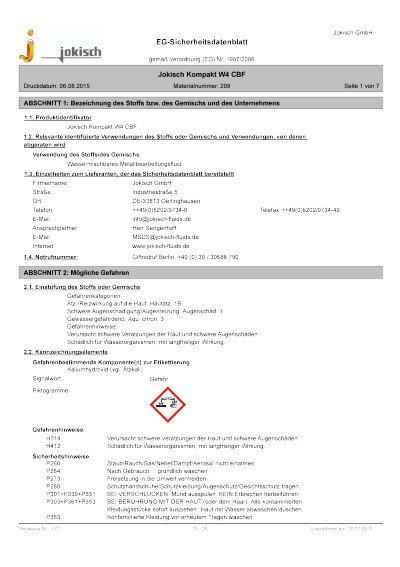 Jokisch Kompakt W4 CBF: Sicherheitsdatenblatt