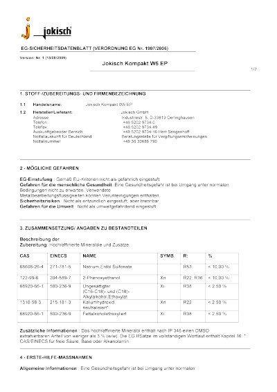 Jokisch Kompakt W5 EP: Sicherheitsdatenblatt