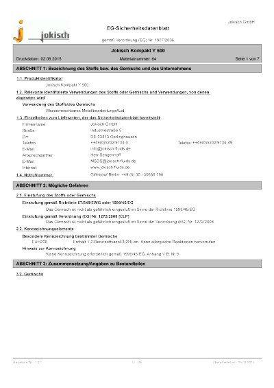 Jokisch Kompakt Y 500: Sicherheitsdatenblatt